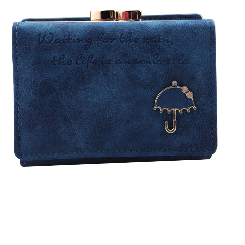 Vococal Mujeres Corta botón Mini Slim Embrague Monedero Moneda Corta Bolso Bolso Cartera Azul Profundo