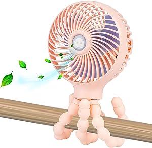 Mini Handheld Personal Portable Fan, Baby Stroller Fan, Car Seat Fan, Desk Fan, with Flexible Tripod Fix on Stroller/Student Bed/Bike/Crib/Car Rides, USB or Battery Powered (Pink)