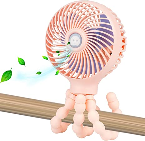 Safe Quiet and Long Lasting Charge Pink Handheld Personal Portable Fan with Flexible Tripod for Stroller Student Bed Desk Bike Crib Car Rides USB or Battery Powered Mini Baby Stroller Fan