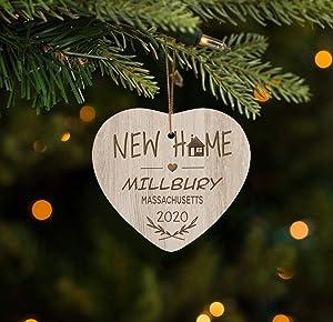 FamilyGift New Home Ornament Millbury Massachusetts MA - City,State Ornament - Home Sweet Home Christma Ornament 2020-3 inches