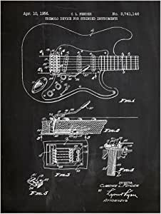 "Inked and Screened ""Fender Stratocaster Guitar Design Patent Art Poster Silk Screen Print, Chalkboard"
