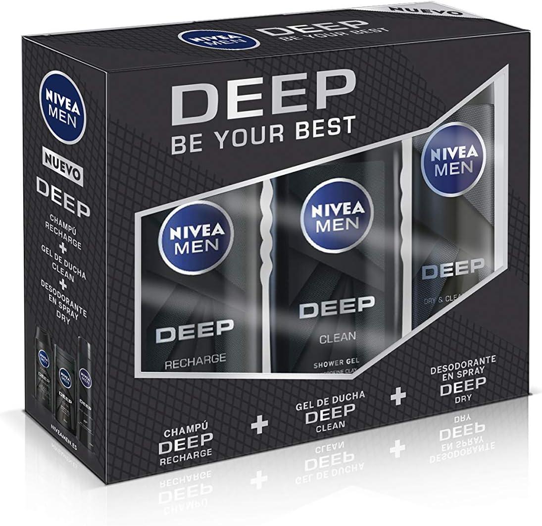 NIVEA MEN DEEP Pack de 3 productos, set de baño para una limpieza eficaz, caja de regalo para hombre con desodorante, gel de ducha y champú: Amazon.es: Belleza