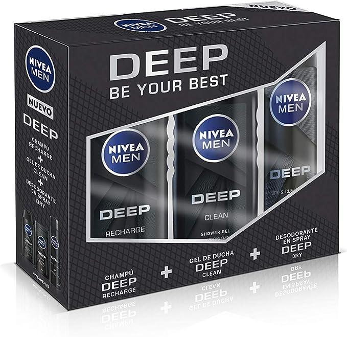 NIVEA MEN DEEP Pack de 3 productos, set de baño para una limpieza ...