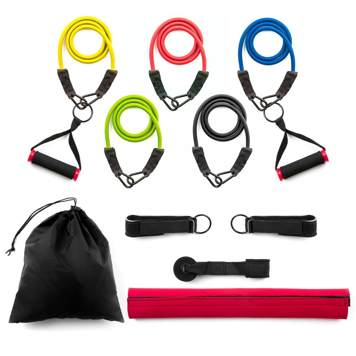 Home Treats 13pc Strong Exercise Resistance Bands Set with Handles, Fitness Stretch Bands With Door Anchor,Ankle Straps,Carry Case And Handles For Gym Workout 5241020707776