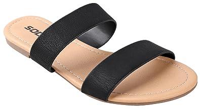 61dfa393825a SODA Women s Browse Dual Straps Slip On Sandals Black Leatherette 5.5