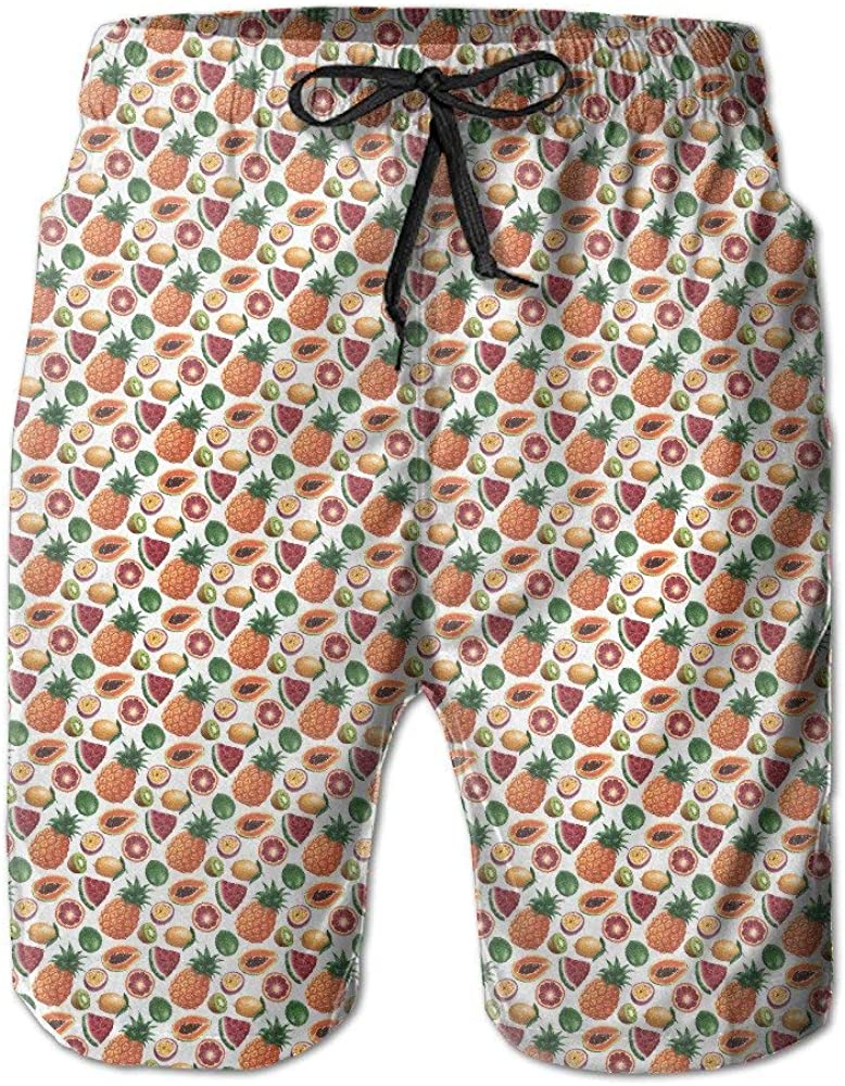 New Mens Trunks Pants Fruit Pineapple Quick Dry Mens Shorts Surf Pants Swim Trunk Hot Beach Boardshorts Hot Swimming Trousers Board Shorts with Pockets,XL