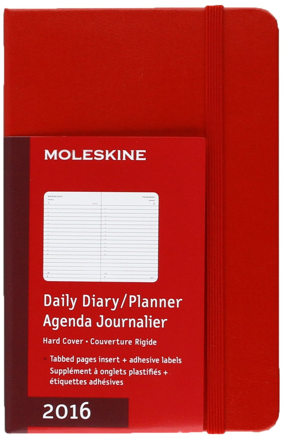 Moleskine 2016 Daily Planner, 12M, Pocket, Scarlet Red, Hard Cover (3.5 x 5.5)