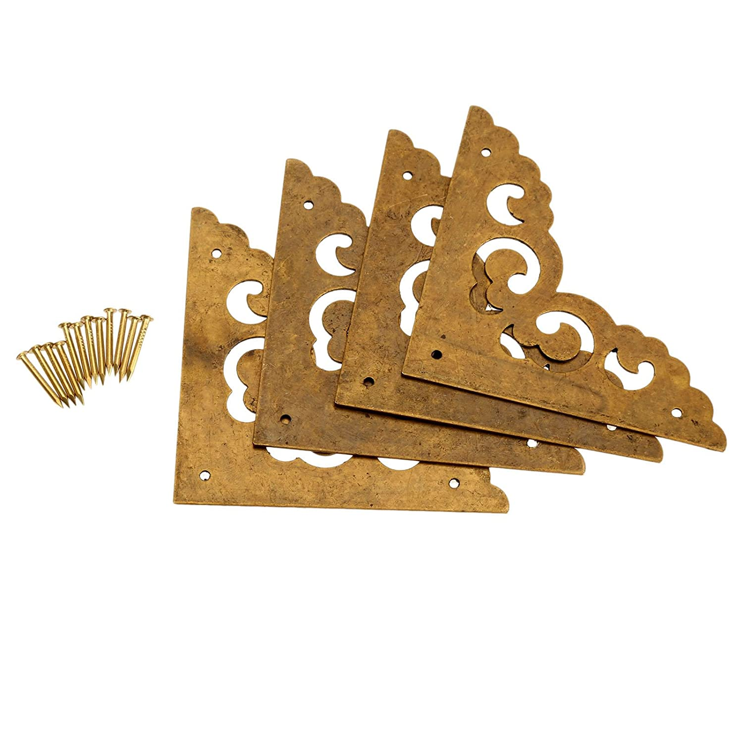 "4Pcs 2.5"" Brass Flat Corners Bracket for Box Cabinet Decorative Furniture Hardware, Antique Brass"