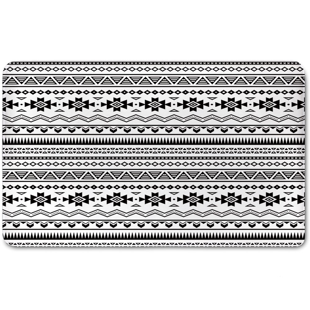 Memory Foam Bath Mat,Native American,Aztec American Folkloric Art Borders Ancient Tribal South America Culture DecorativePlush Wanderlust Bathroom Decor Mat Rug Carpet with Anti-Slip Backing,Black Wh