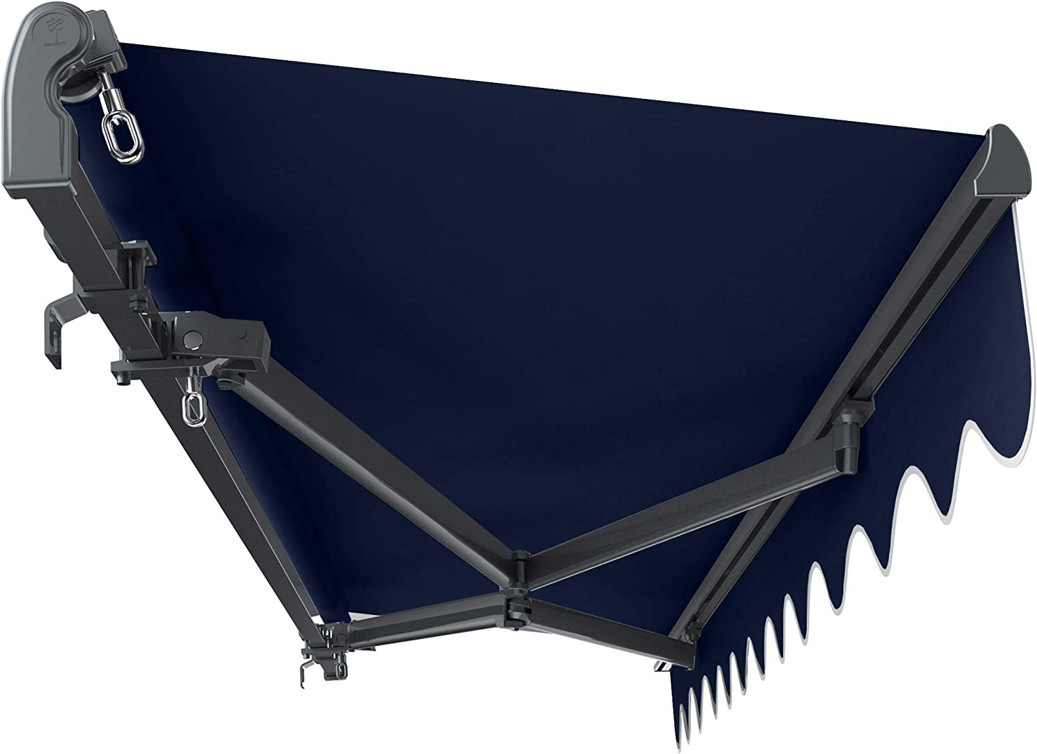 Primrose 3m x 2.5m Standard Manual Charcoal Cassette Patio Awning Complete with Fixings and Winder Handle Dark Blue