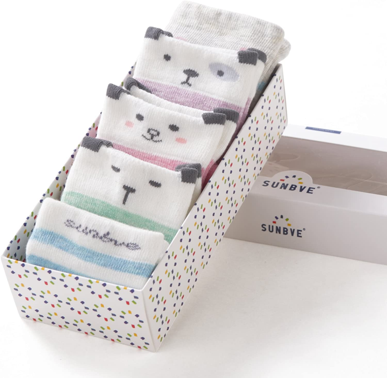 SUNBVE 5 Pack Girls Kids Fashion Cotton Crew Dress Socks Gift Set