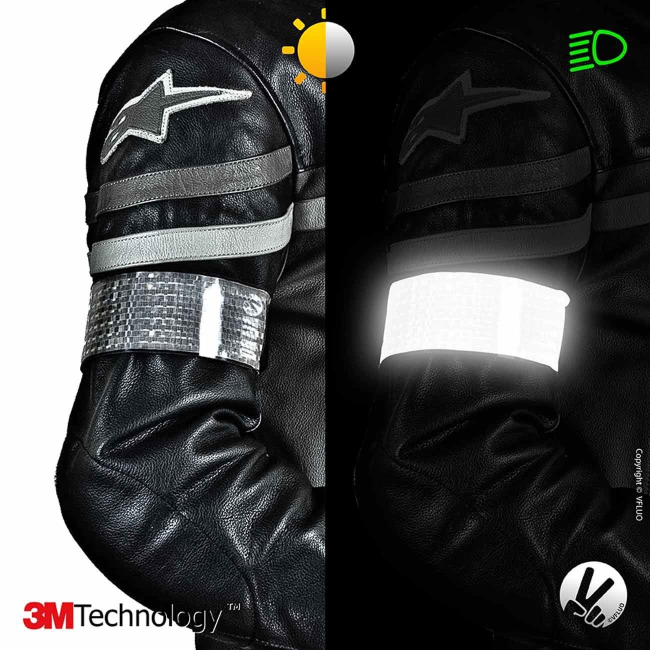 adjustable and elastic VFLUO ARMTECH/™ for Motorcycle//Scooter // Bike//Pedestrian White Retro reflective armband Night visibility