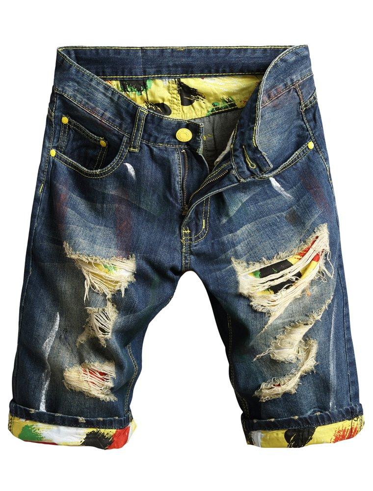 Lavnis Men's Moto Biker Jeans Shorts Ripped Distressed Denim Shorts with Broken HoleBlue-1-31