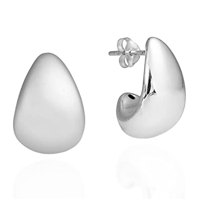 a2787785b Image Unavailable. Image not available for. Color: Modern Chunky Curve  TearDrop .925 Sterling Silver Post Earrings