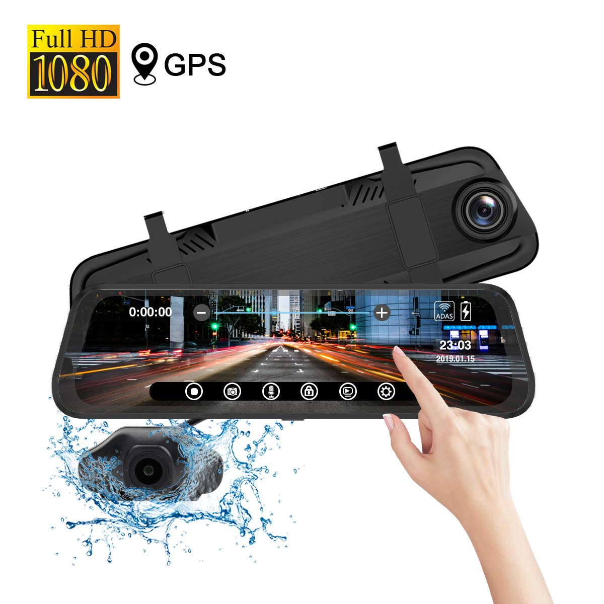 Mirror Dash Cam Front Rear Cam, 9.66 inch IPS Full Touch Screen 1080P Car Dashboard Recorder, 170°Front 140°Rear Waterproof, with GPS, ADAS, Night Vision, G-Sensor, Parking Monitor, Motion Detect