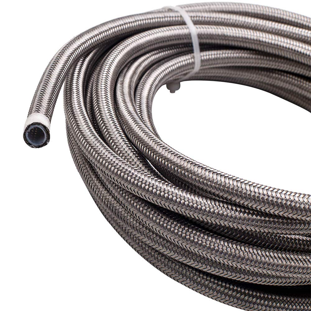 maXpeedingrods 6AN 20FT Stainless Steel PTFE E85 Silver Fuel Line Black Fitting Hose Kit AN6 12Feet - Sliver by maXpeedingrods (Image #3)