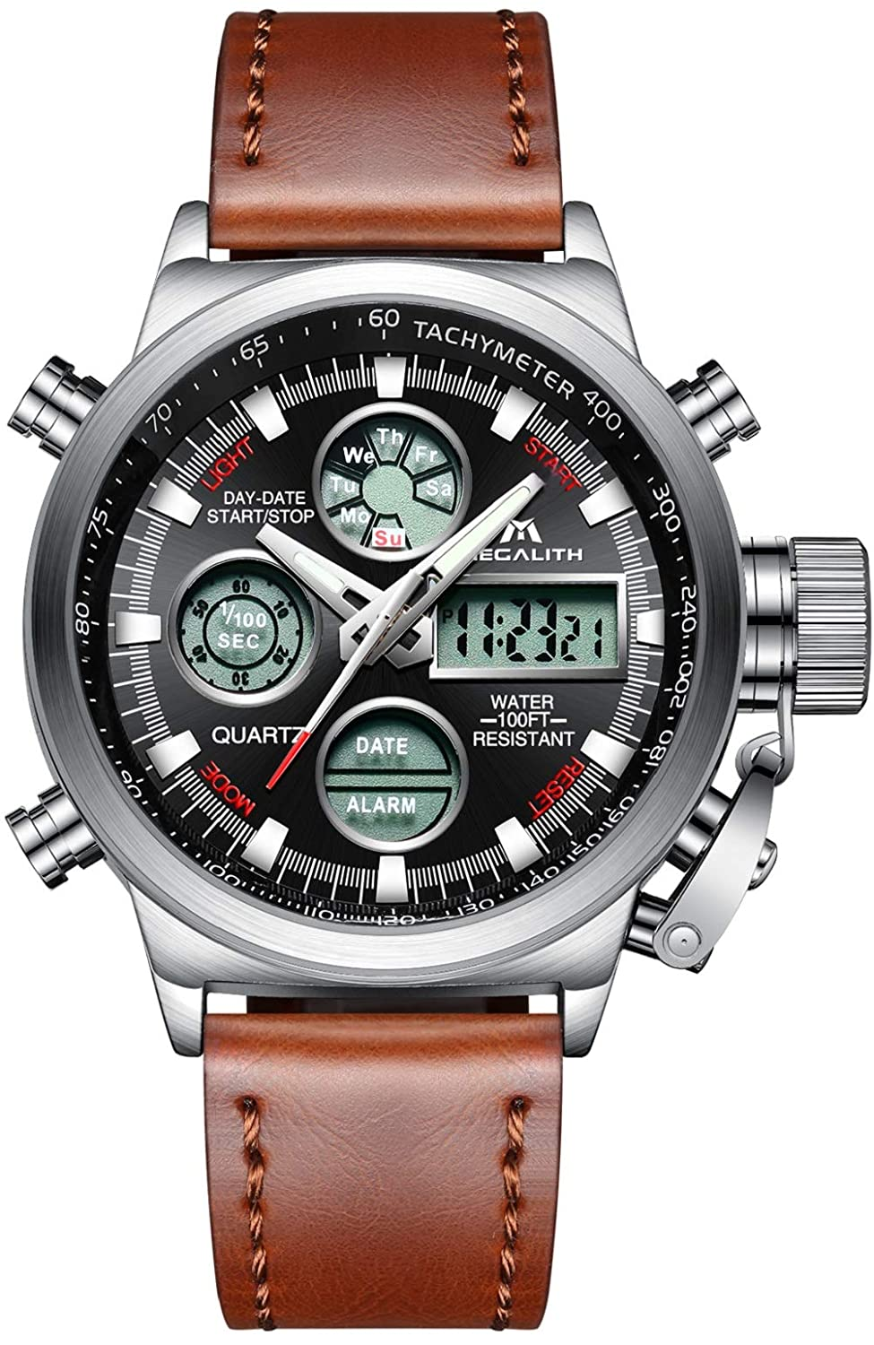 Amazon.com: Mens Sports Watches Men Military Waterproof Big Face Analog Digital Brown Leather Band Wrist Watch (Silver): Watches