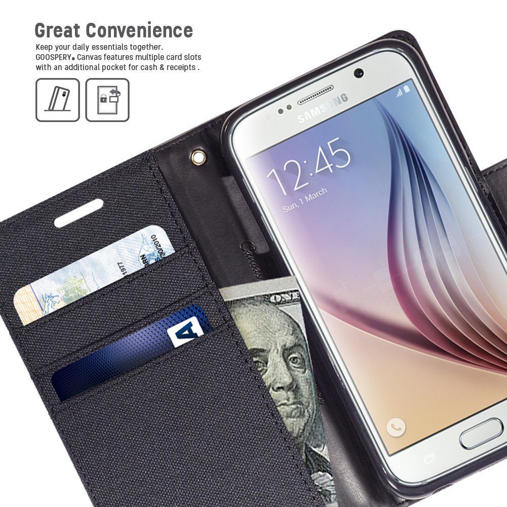 Galaxy S6 Case Drop Protection Goospery Canvas Diary Samsung S8 Plus Fancy Brown Black Denim Material Wallet Id Credit Card And Cash Slots With Stand Flip Cover For