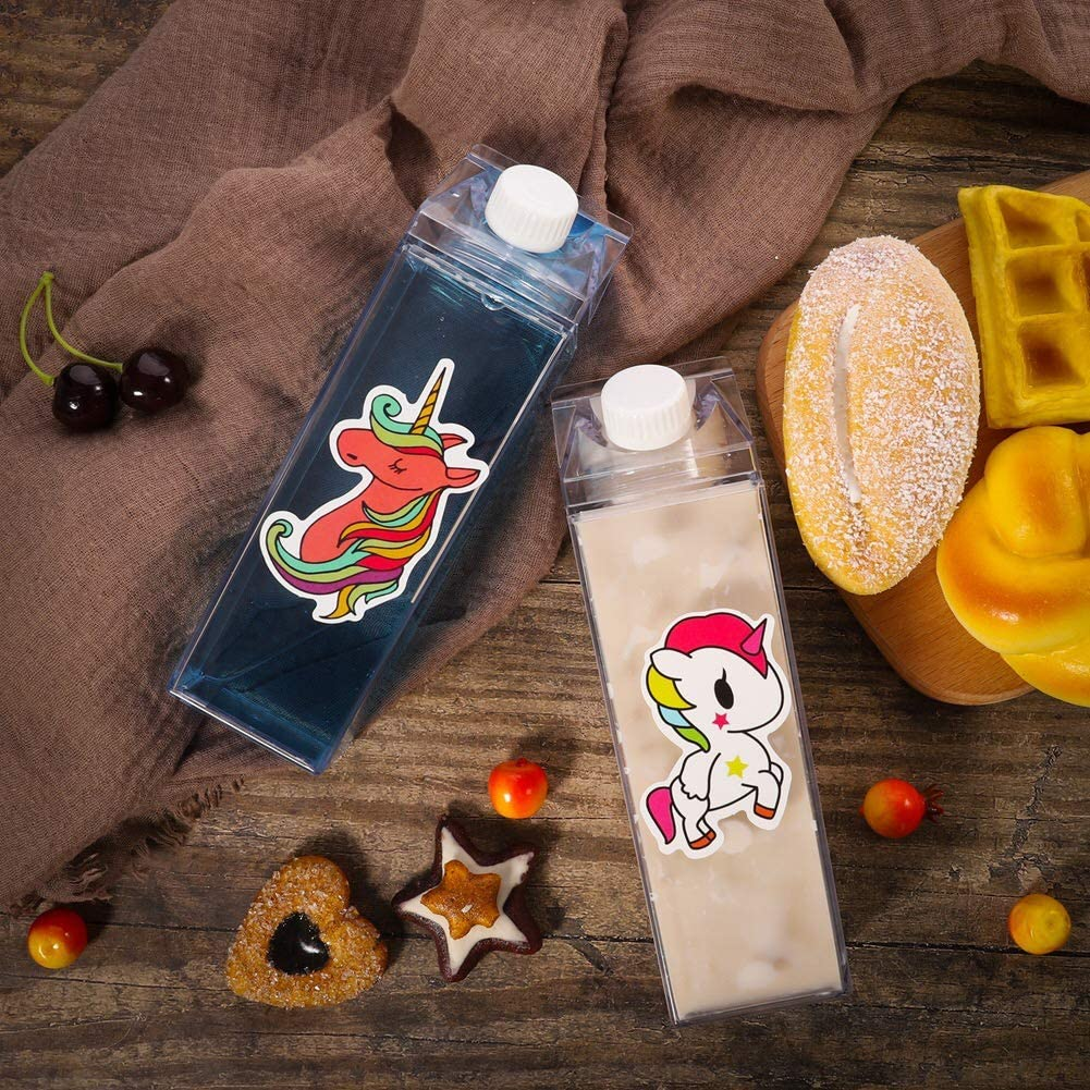 Milk Carton Water Bottle-500ML Juicing Bottles-Fun Stylish Plastic Water Bottle-Clear Milk Carton Water Bottle with 10 Stickers for Outdoor Sports Travel Camping Activities