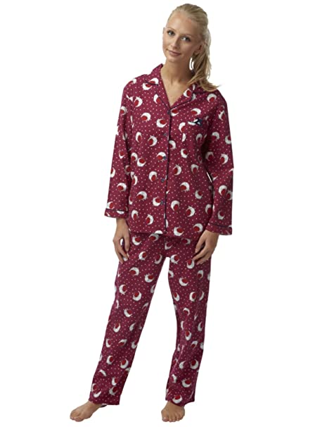 Ladies Indigo Sky Cotton Wincyette Robin Pyjamas IN05096 Claret 8/10