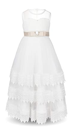 5b2ab3027e Aodaya Bohemian Sleeveless White Lace Dress Flower Girls Boho Long Dresses  for Wedding Party Gala