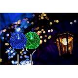 Solar Globe Lights, OxyLED Crystal Glass LED Light/Solar Stake Light, Color-Changing Outdoor Landscape Garden Light Decoration, Garden Decor, SL75 (2 Pack)