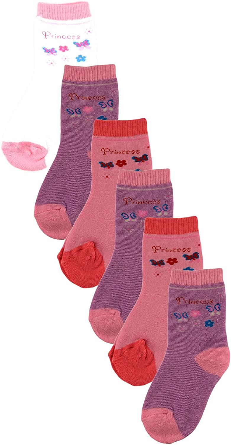 Sock Stack 6 Pairs Of Kids Thermal Socks Boys Girls Thick Warm Brushed TOG Boot Wellie Sock For Children