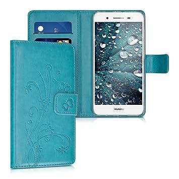 kwmobile Funda para Huawei GR3 / P8 Lite Smart - Carcasa de [Cuero sintético] con diseño de Flores y Mariposas - Case con [Tarjetero]