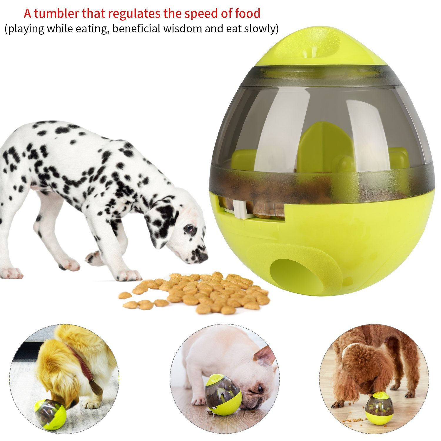 KAOSITONG Interactive Dog Toy,Interactive Food Dispensing Ball Dogs Cat Increases IQ & Mental Stimulation,Slows Down Eating,Promoting Active Healthy Feeding Small Medium Large Dogs,Easy to Clean by KAOSITONG (Image #6)
