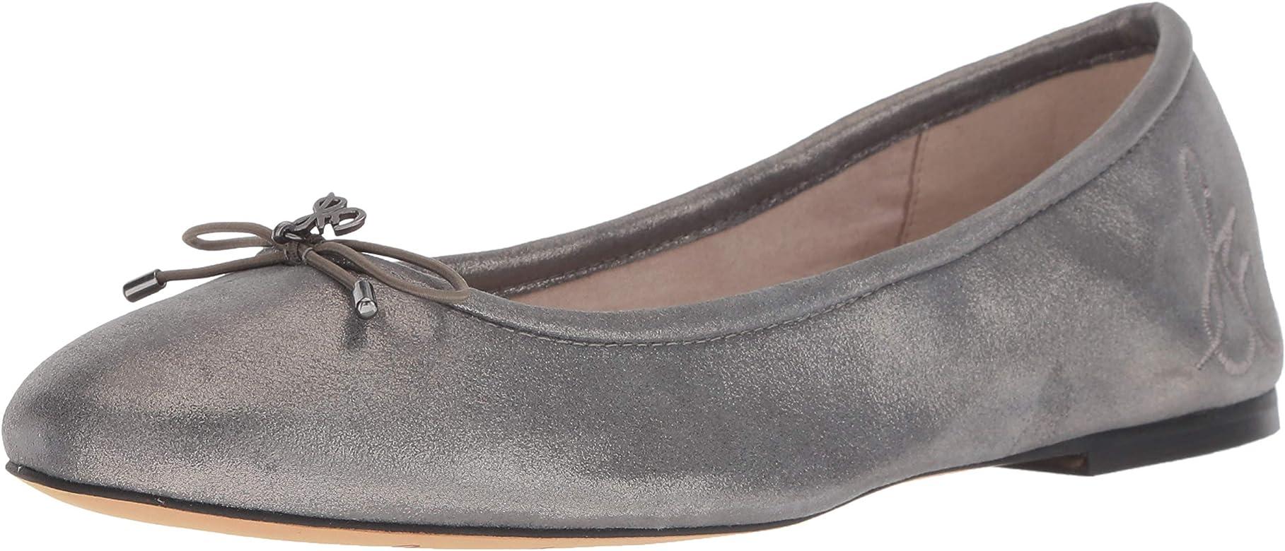 857675d56d3e Sam Edelman Women's Felicia Ballet Flat, Dark Pewter Metallic Leather, ...