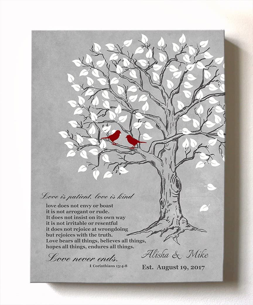 MuralMax - Personalized Anniversary Family Tree Artwork - Love is Patient Love is Kind Bible Verse - Unique Wedding & Housewarming Canvas Wall Decor Gifts - Color Gray # 2 - Size - 10x12