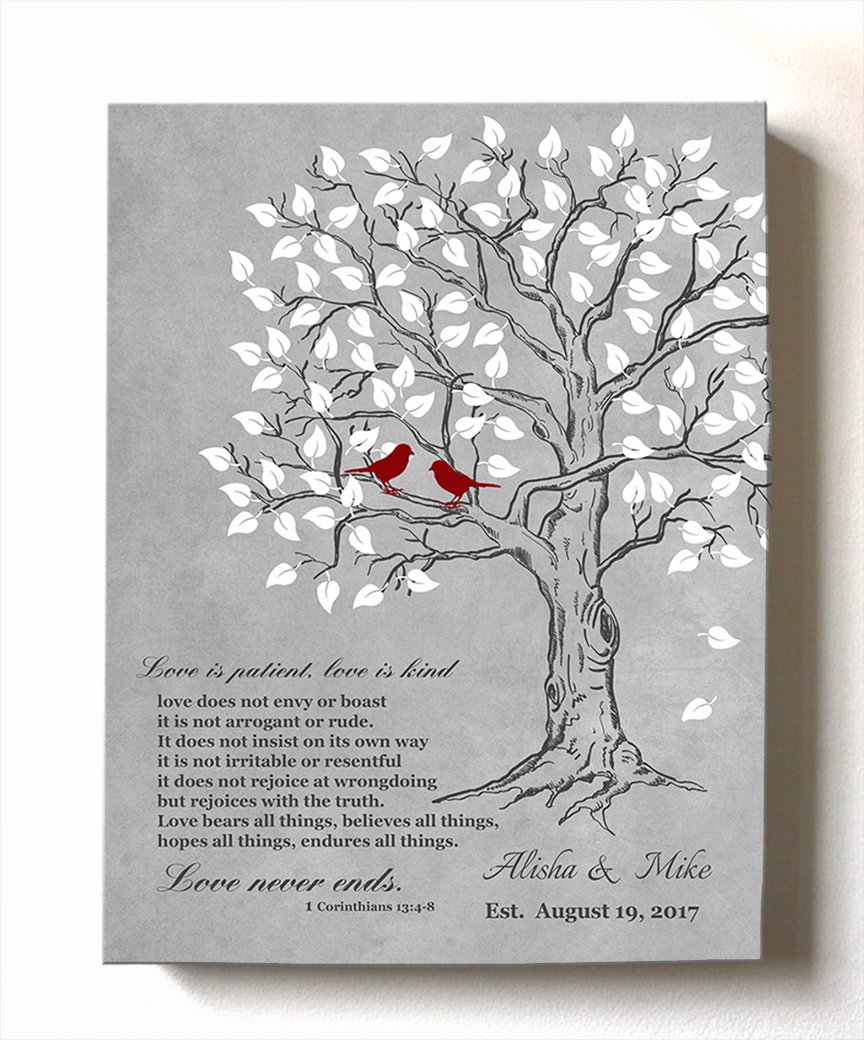 MuralMax Personalized Family Tree & Lovebirds, Stretched Canvas Wall Art, Make Your Wedding & Anniversary Gifts Memorable, Unique Decor, Color Gray # 2-30-DAY - Size - 11x14