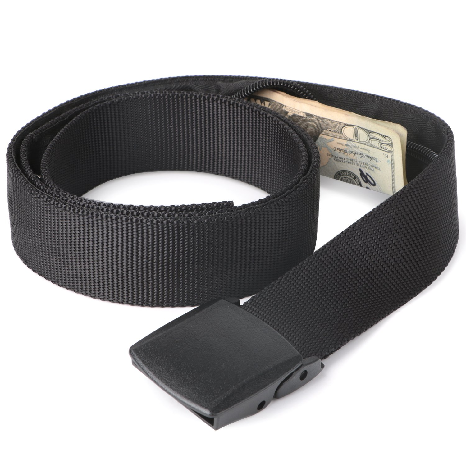 Travel Security Money Belt with Hidden Money Pocket - Cashsafe Anti-Theft Wallet Unisex Nickel free Nylon Belt by JASGOOD (Style 1-1.5'' width-Money belt, 1 Black-fit pant size 41-50'')