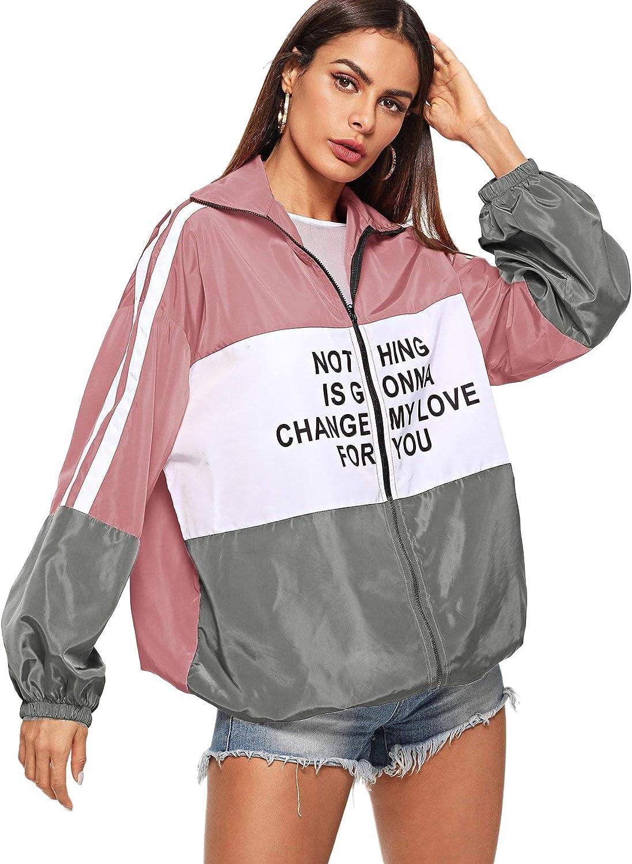 MAKEMECHIC Womens Color Block Zip Up Sports Casual Jacket Windproof Windbreaker