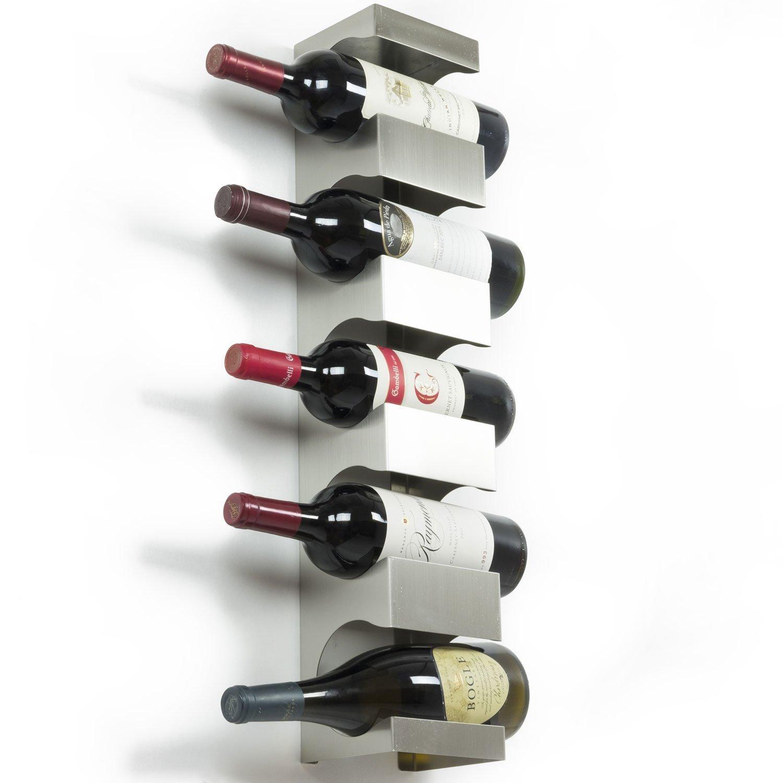 shop amazoncomwallmounted wine racks - stainless steel wine rack  wide multi bottle holder with top shelf section modern art