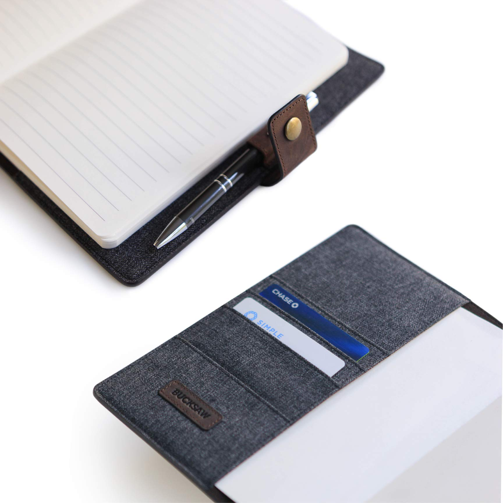 CASE ELEGANCE Full Grain Premium Leather Refillable Journal Cover with A5 Lined Notebook, Pen Loop, Card Slots, & Brass Snap by CASE ELEGANCE (Image #2)