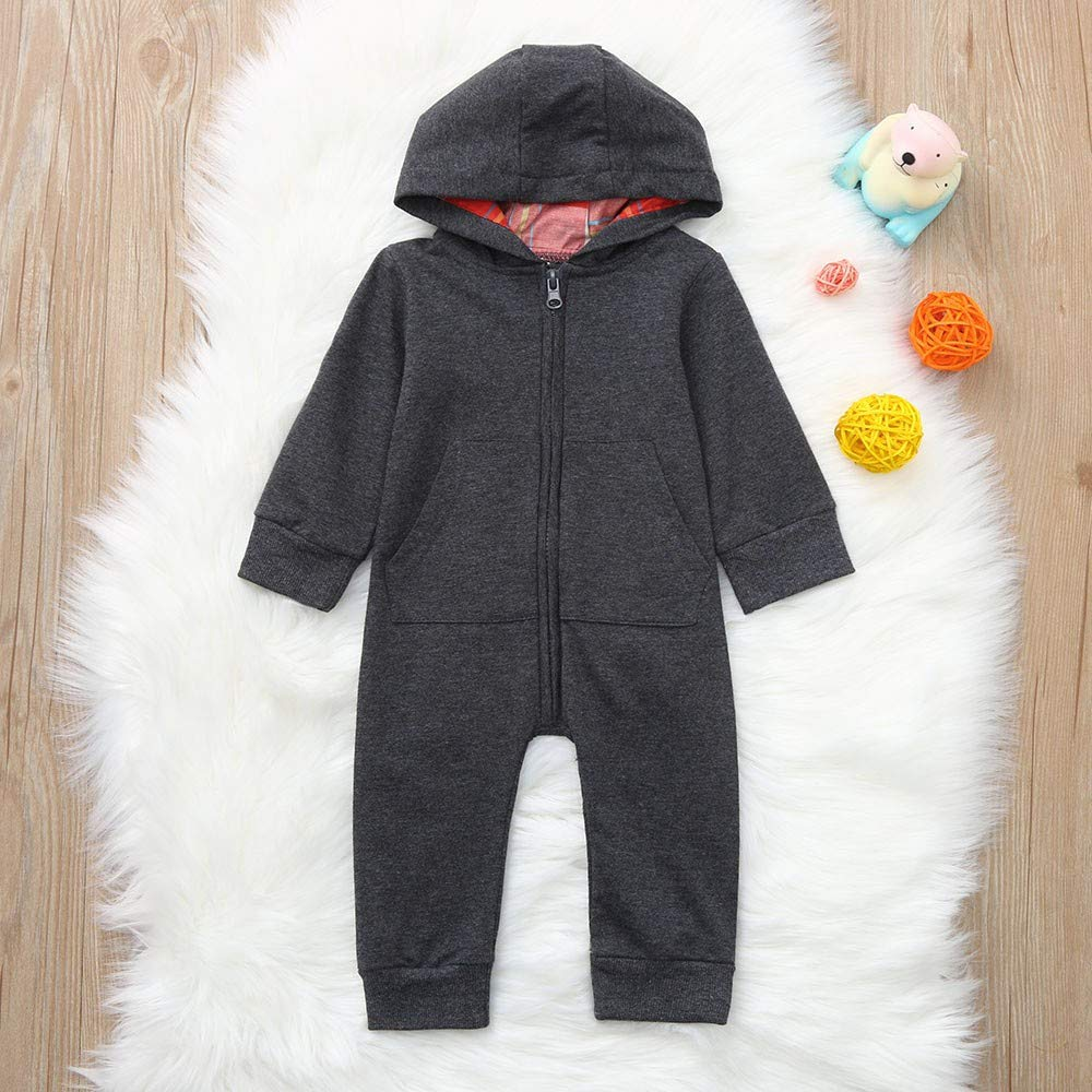 OCEAN-STORE Toddler Newborn Baby Boys Girls 3-24 Months Hooded Zipper Romper Jumpsuit Clothes Outfits