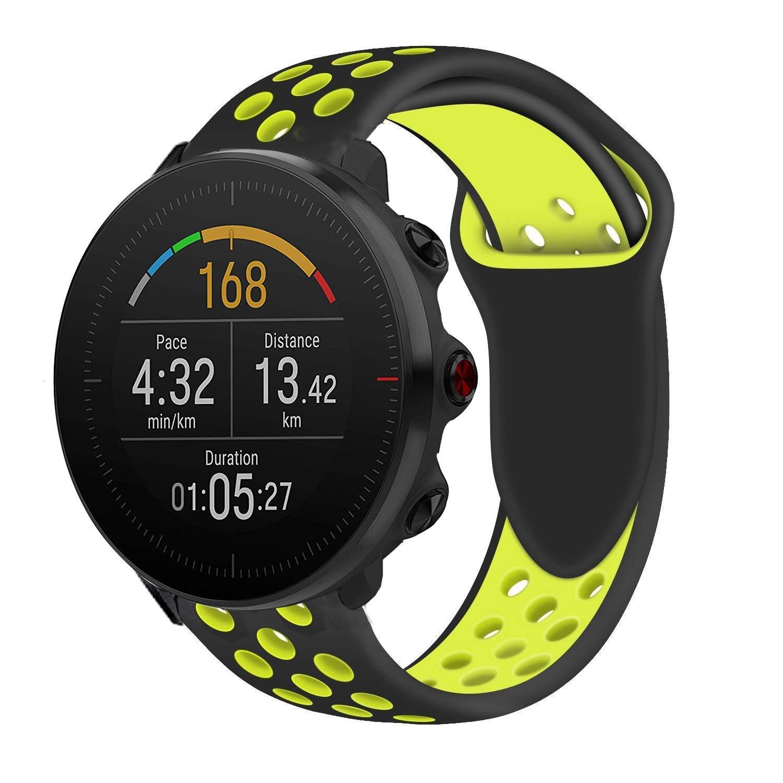 Ceston Deporte Silicona Clásico Correas para Smartwatch Polar Vantage M (Negro + Verde)