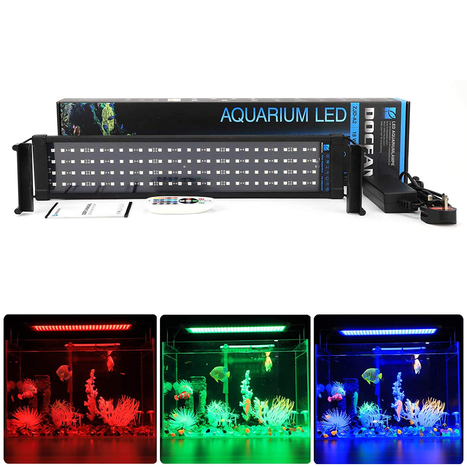 50cm72cm RGBDOCEAN LED Aquarium Light, Fish Tank Light with bluee and White LEDs, 26W 126pcs 5050SMD, 2080lm, Fits Aquarium 7294cm in Length, 2 Lighting Modes (bluee+White, bluee)