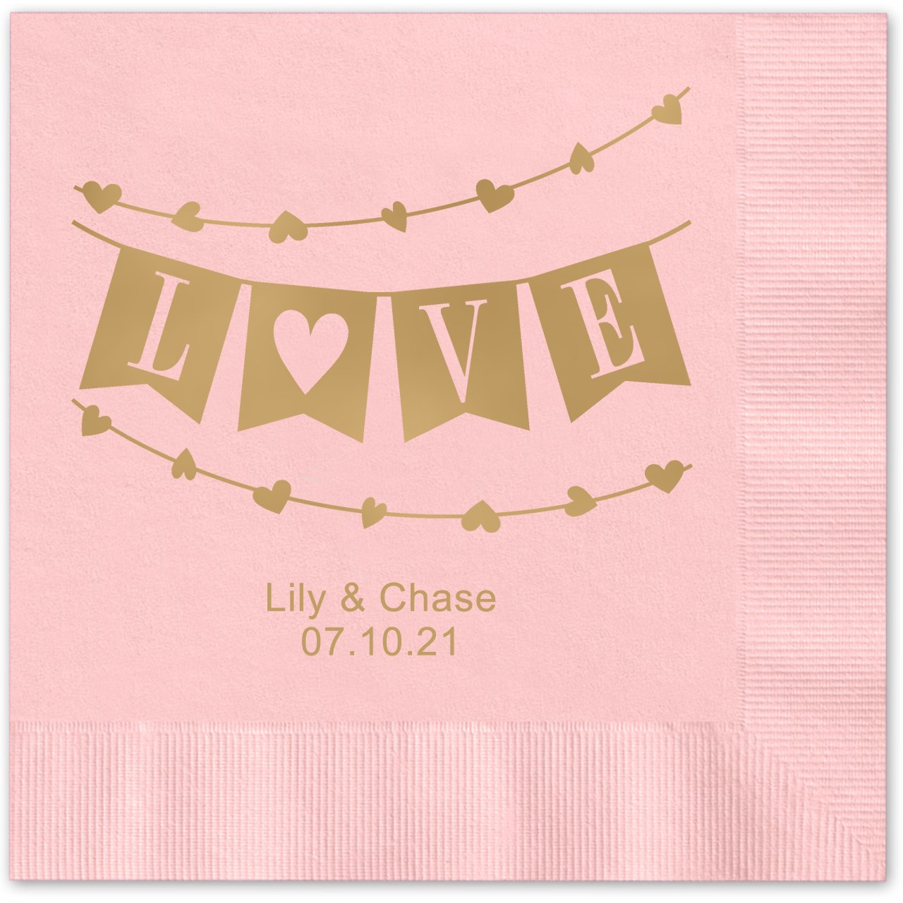 Banner Love Personalized Beverage Cocktail Napkins - 100 Custom Printed Pink Paper Napkins with choice of foil