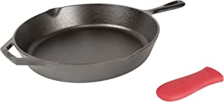 """product image for Lodge Pre-Seasoned Cast Iron Skillet with Assist Handle Holder, 12"""", Red Silicone"""