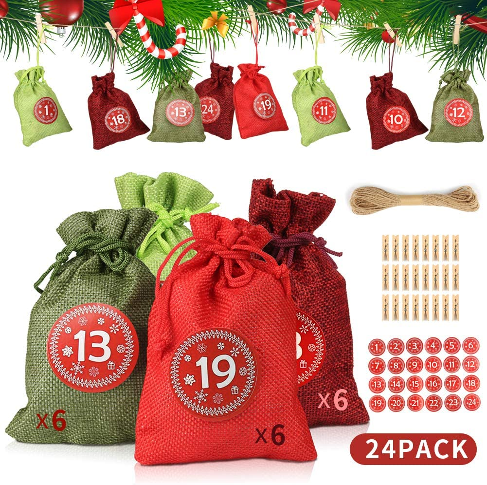 24Pcs Drawstring Pouch Burlap Candy Bag DIY Decorations with 24 Number Stickers EZESO ESSENTIAL SKINCARE Advent Calendar Gift Bags 24 Wooden Clips,10m Hemp Rope Hessian Sack(A)
