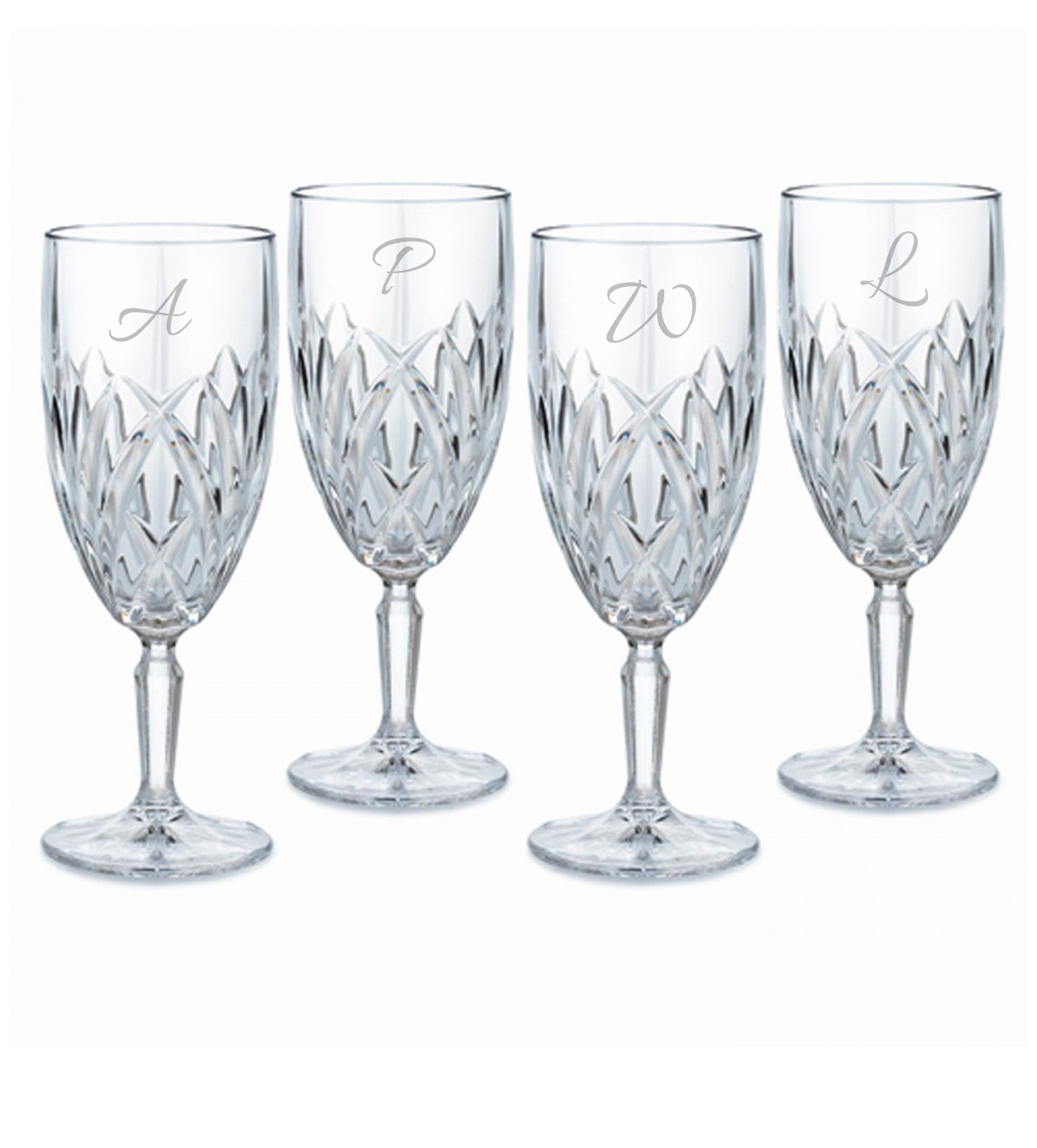 Waterford Marquis Brookside Footed Goblets Set of 4, Personalized Wine Glasses, Custom Engraved Goblets