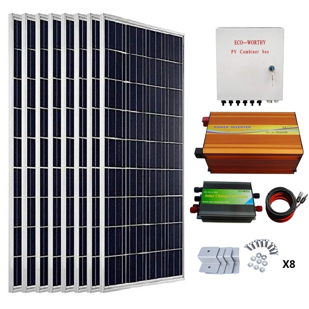 Eco Worthy 800 Watts Solar Panel Kit 8pcs 100w Poly Panels Are Paralleled In The Combiner That Includes Fuses Or Circuit 3kw 24v 110v Off Grid Inverter Box 15ft Cable 60a Pwm