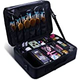 Samtour Makeup Train Case 2 layer Multi Functional Professional Makeup Bag Large Make Up Artist Box Cosmetic Organizer with Movable Mirror for Cosmetics Makeup Brushes Beauty Tool