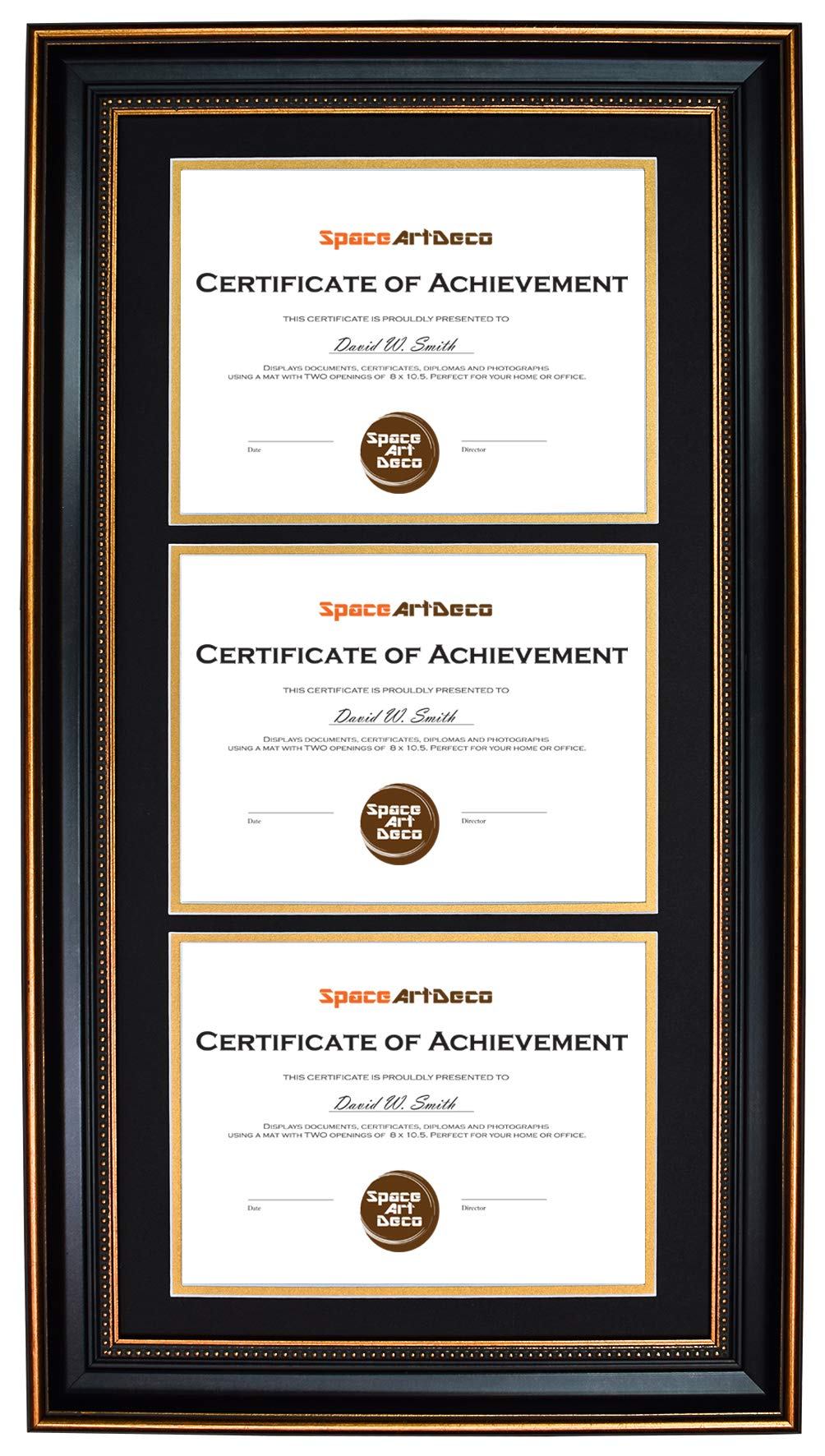 Space Art Deco Ornate Gold Black Design Vertical Triple Certificate/Diploma Frame - Black Over Gold Double Mat - for Three 8.5x11 Certificates and Diplomas- Sawtooth Hangers - Wall Mount (Portrait) by Space Art Deco (Image #1)