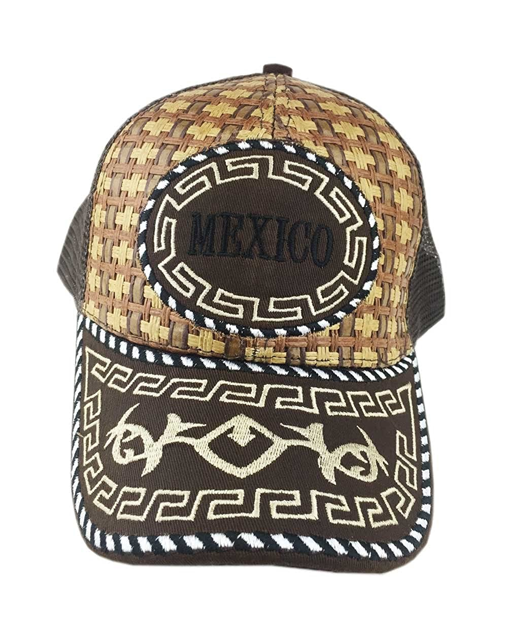 Aesthetinc Western Wear Chara Mexico Straw Trucker Hat Cap (Brown) at  Amazon Men s Clothing store  73be505f710