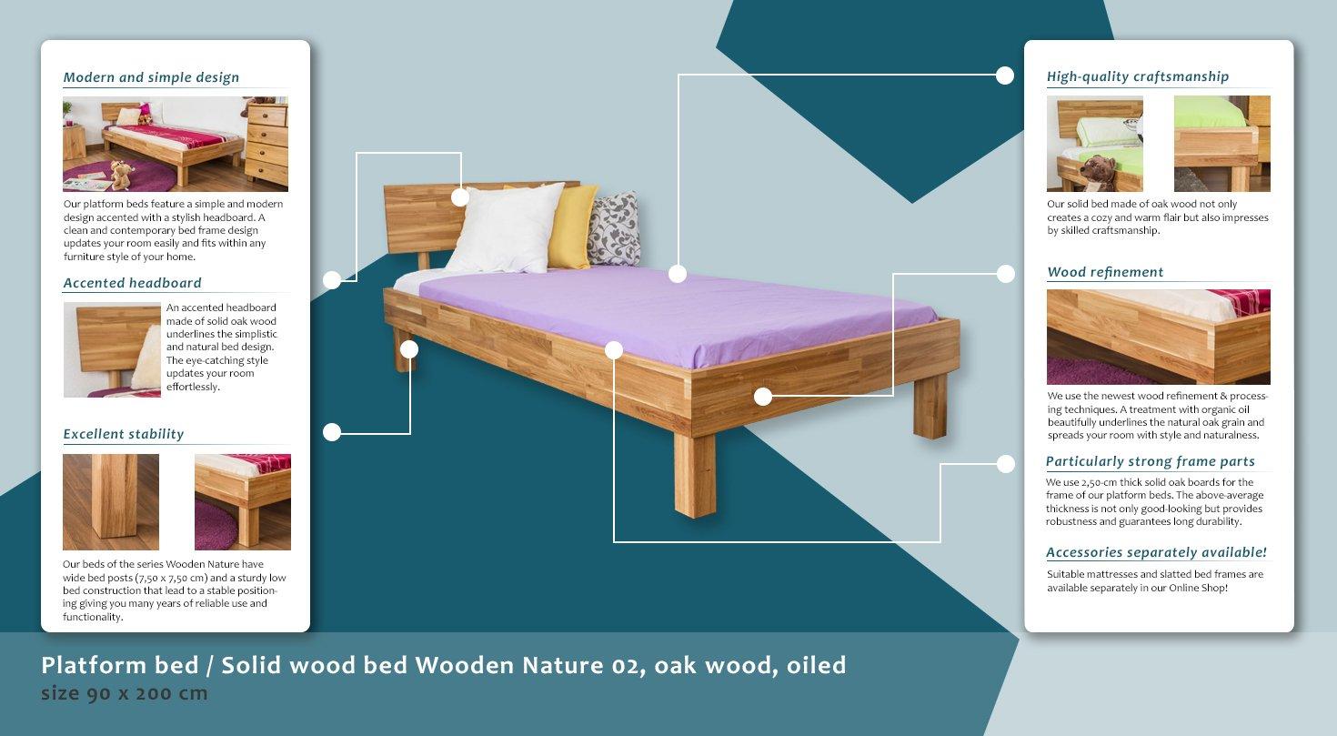 Plataforma cama/madera maciza cama de madera Naturaleza 02, madera ...