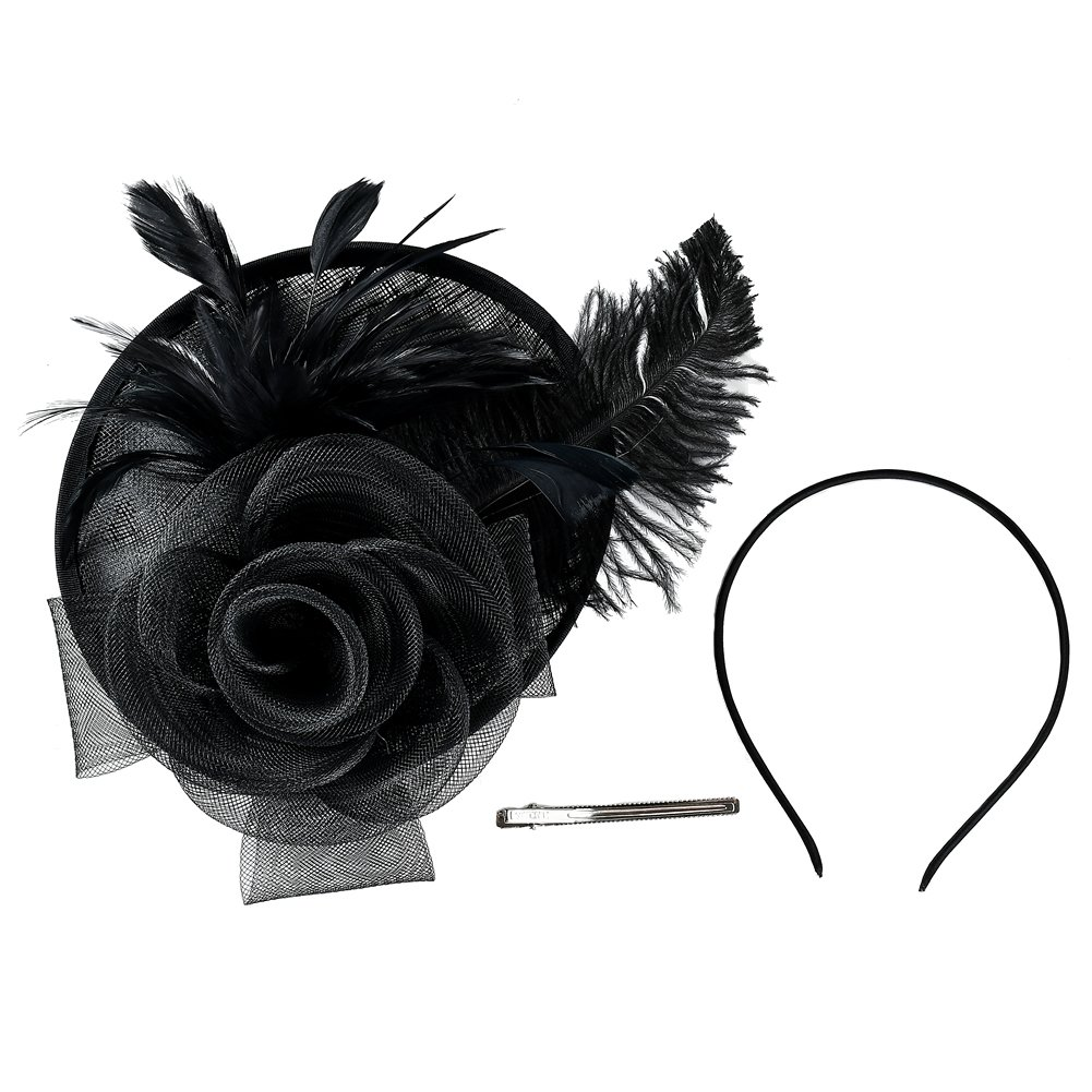 inSowni Flower Tea Party Sinamay Fascinators Hat Cap Feather Mesh Headband Clip for Women Girls (Black S2) by inSowni (Image #4)