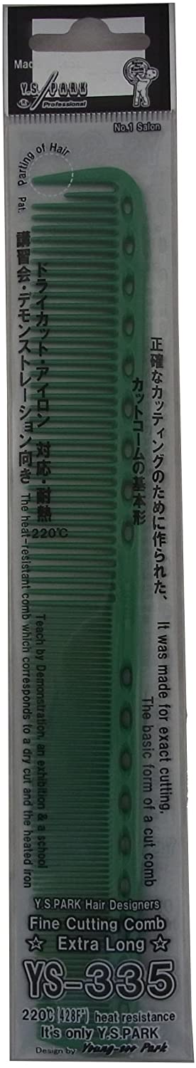 YS Park 335 Fine Cutting Comb (Extra Long) - Green